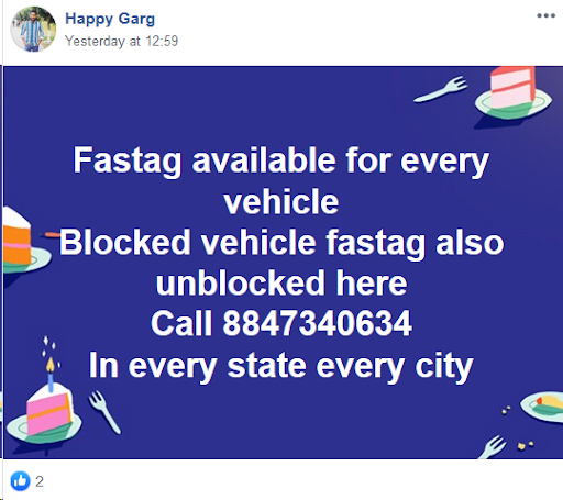 Facebook post offering unblocking service